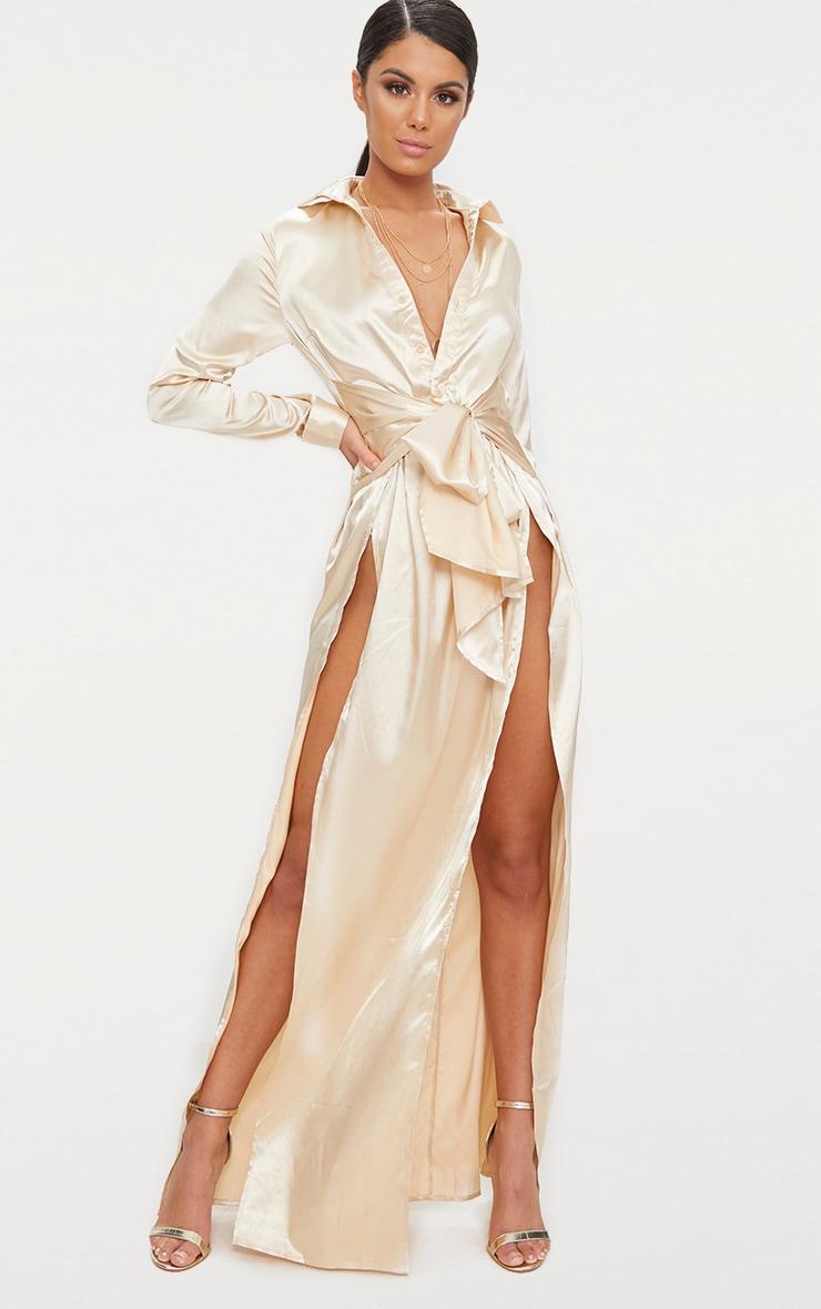 b539e55f9 Champagne Satin Extreme Split Waist Tie Shirt Maxi Dress image 1