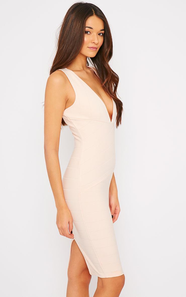 Frankie Nude Deep V Bandage Midi Dress 4