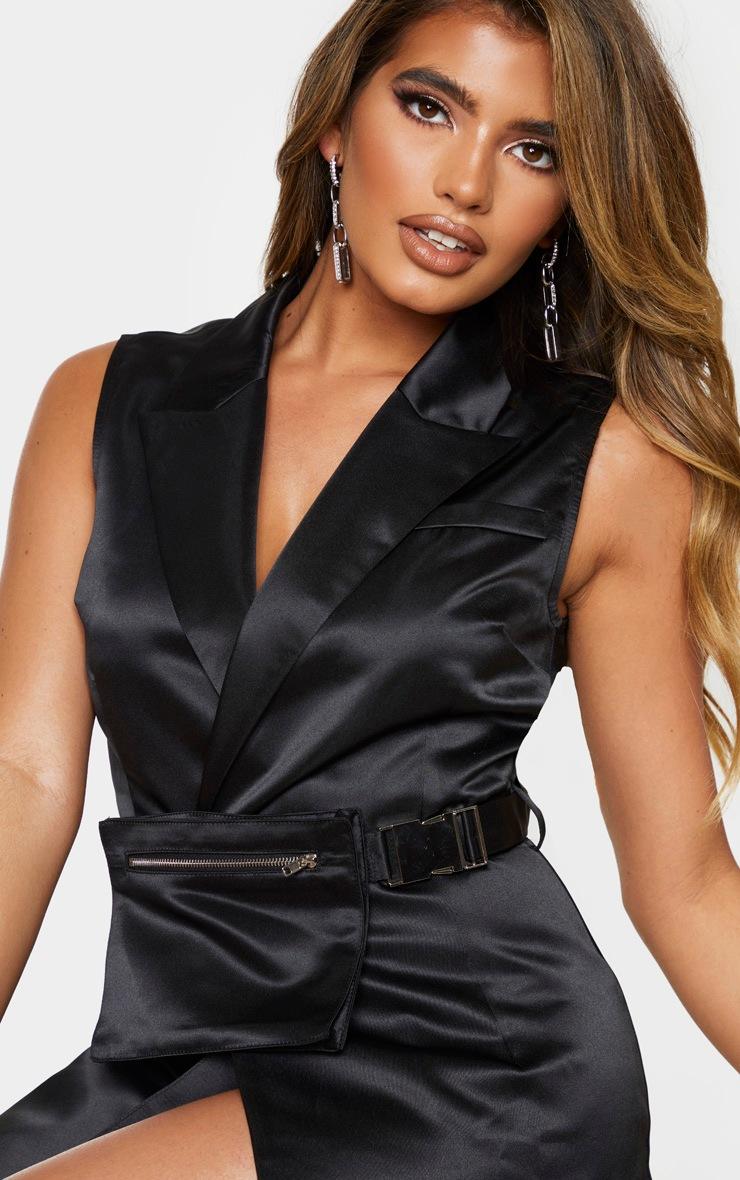 Black Satin Belt Pocket Detail Sleeveless Blazer Dress 4