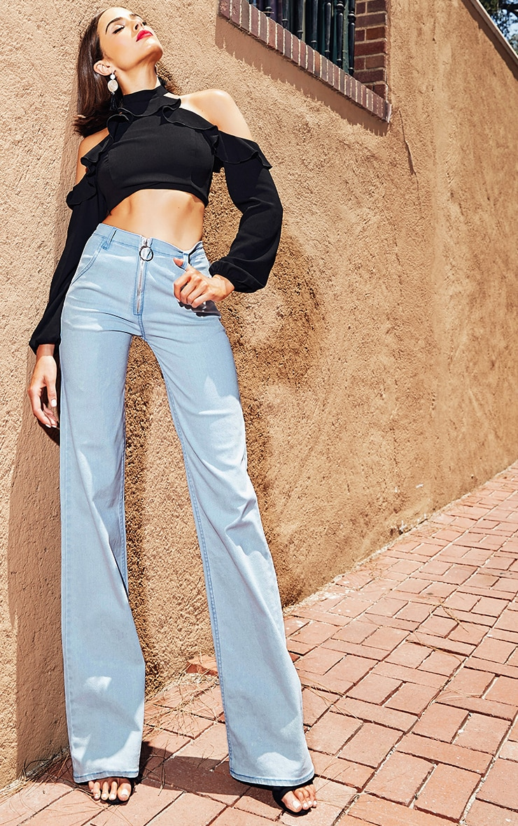 Light Wash Ring Pull Extreme Wide Leg Jeans 1
