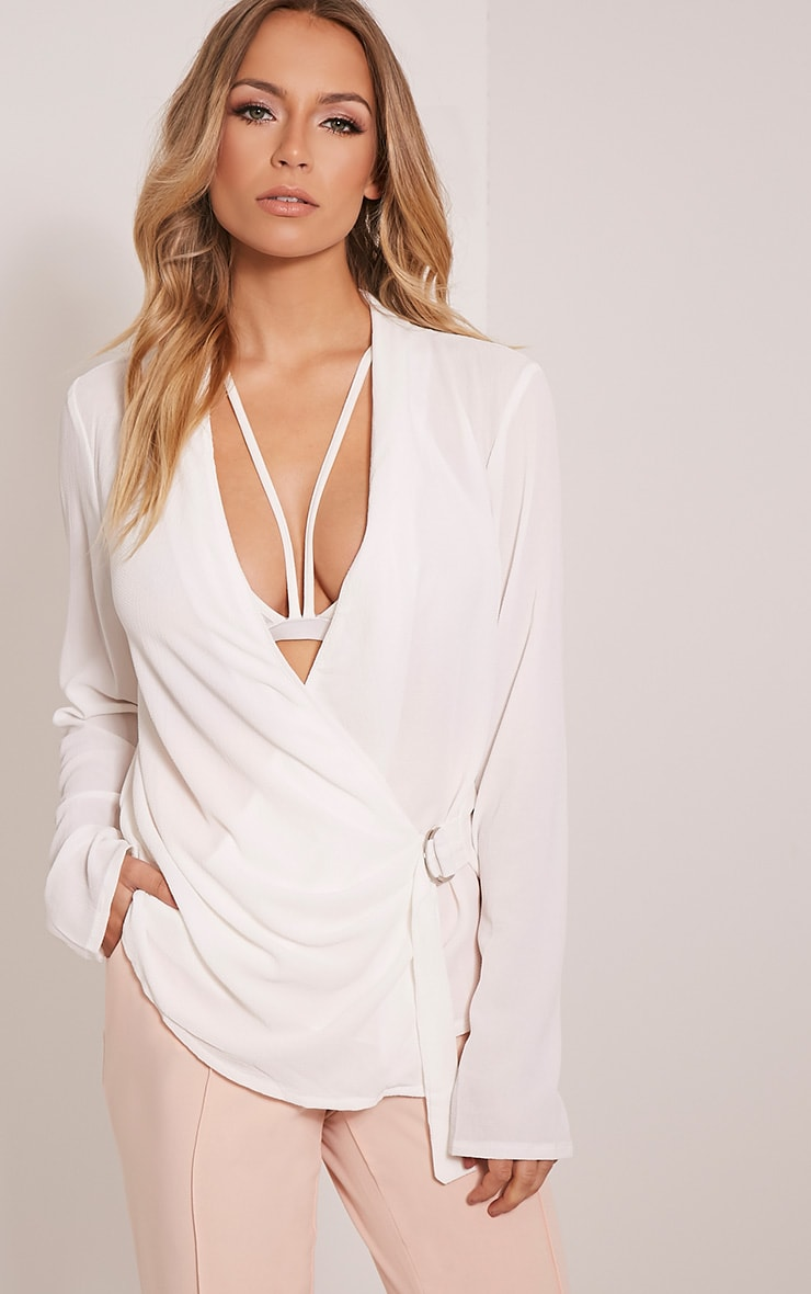 Olivia Cream D Ring Cross Front Blouse 1