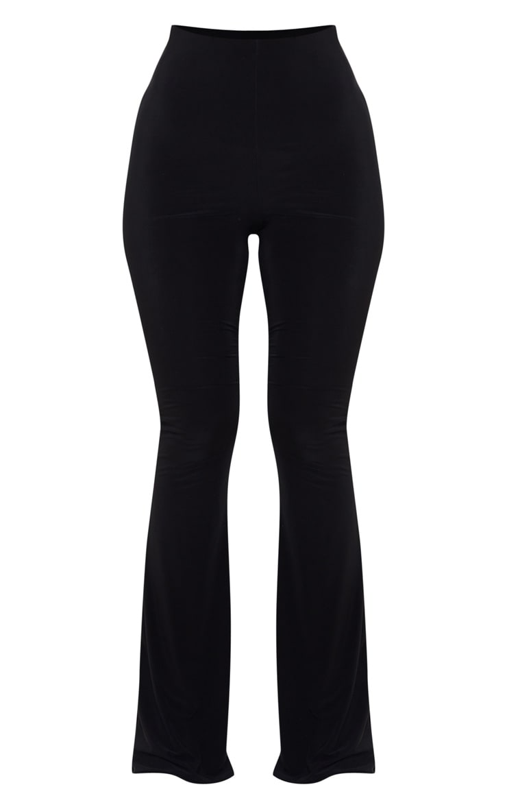 Black Flare Ruched Bum Slinky Trouser 3