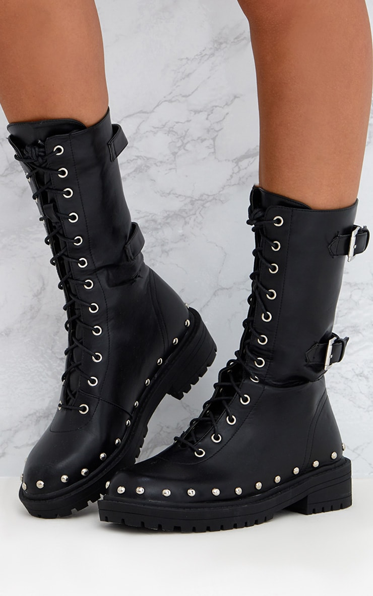 Black Chunky Hard Wear Lace Up Ankle Boots 2