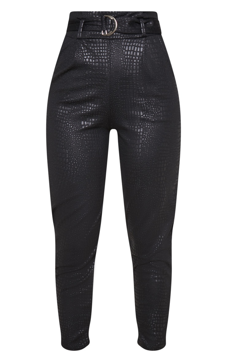Black Croc Print D Ring Belted Skinny Trousers 3