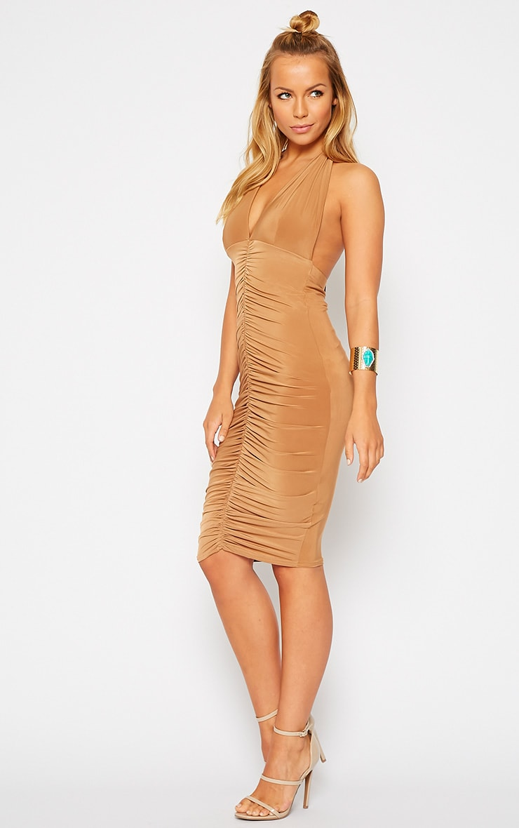 Lucienne Camel Plunge Ruched Front Dress 3