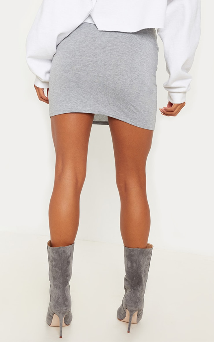 Grey Basic Jersey Mini Skirt 4