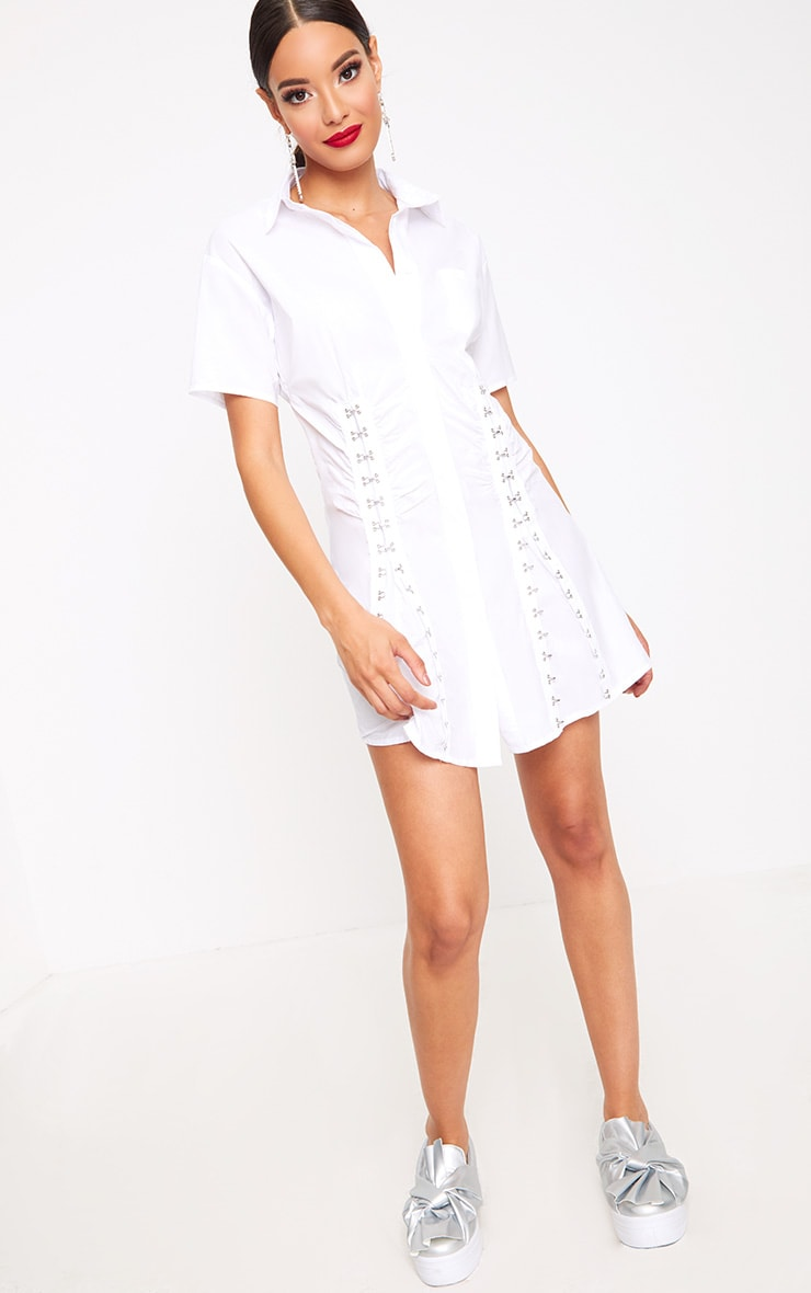 White Hook & Eye Shirt Dress 4