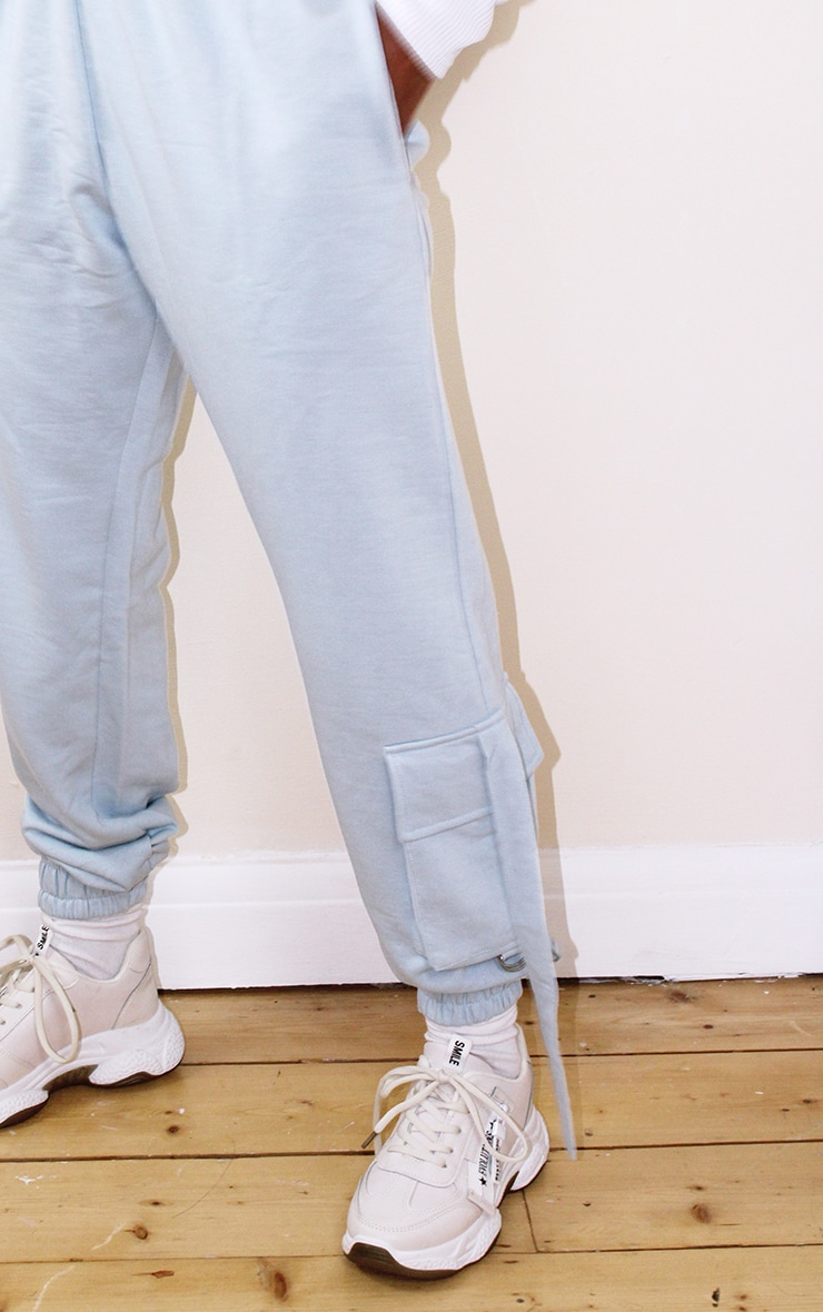 Petite Baby Blue Cargo Casual Joggers 4