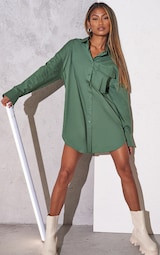RENEW Green Bell Cuff Detail Oversized Shirt Dress 1
