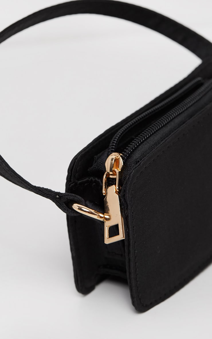 Black Satin Rectangle Micro Mini Bag     3