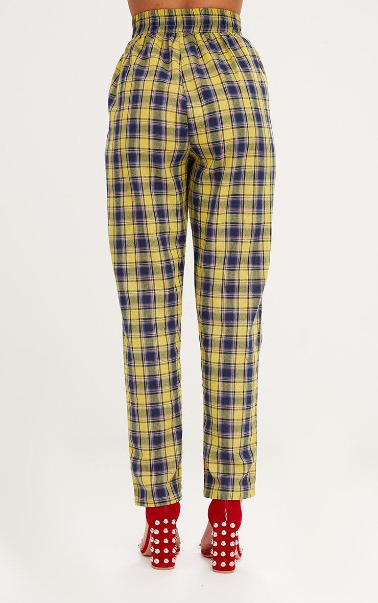Yellow Check Front Pleat Casual Trousers 4