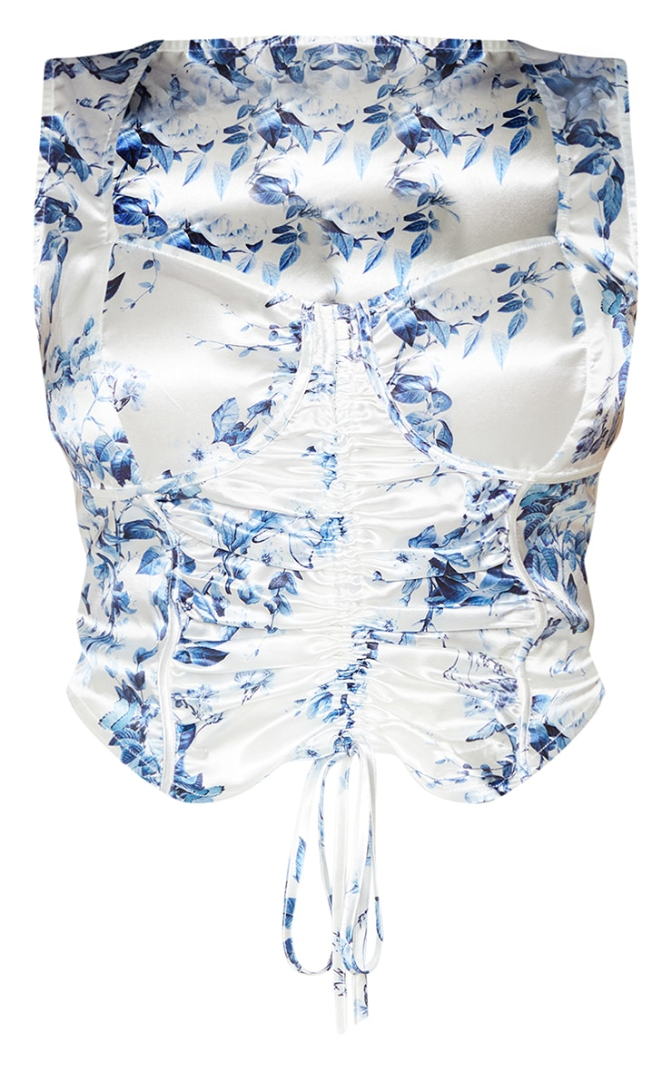 Plus White Butterfly Printed Satin Corset Ruched Detail Crop Top 5