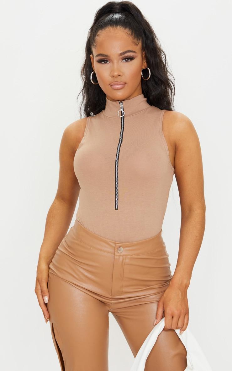 Sand High Neck Ring Zip Sleeveless Bodysuit 1