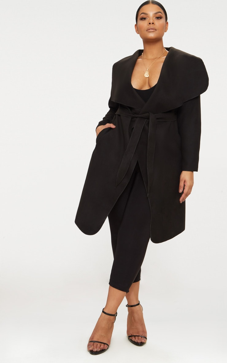 Plus Black Waterfall Coat 4