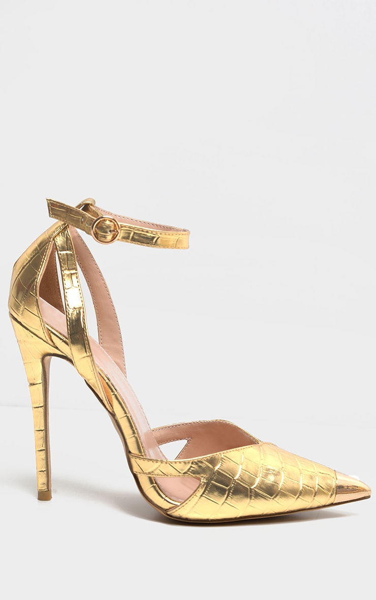 Gold Cut Out Heel Metal Toe Court Shoe 3