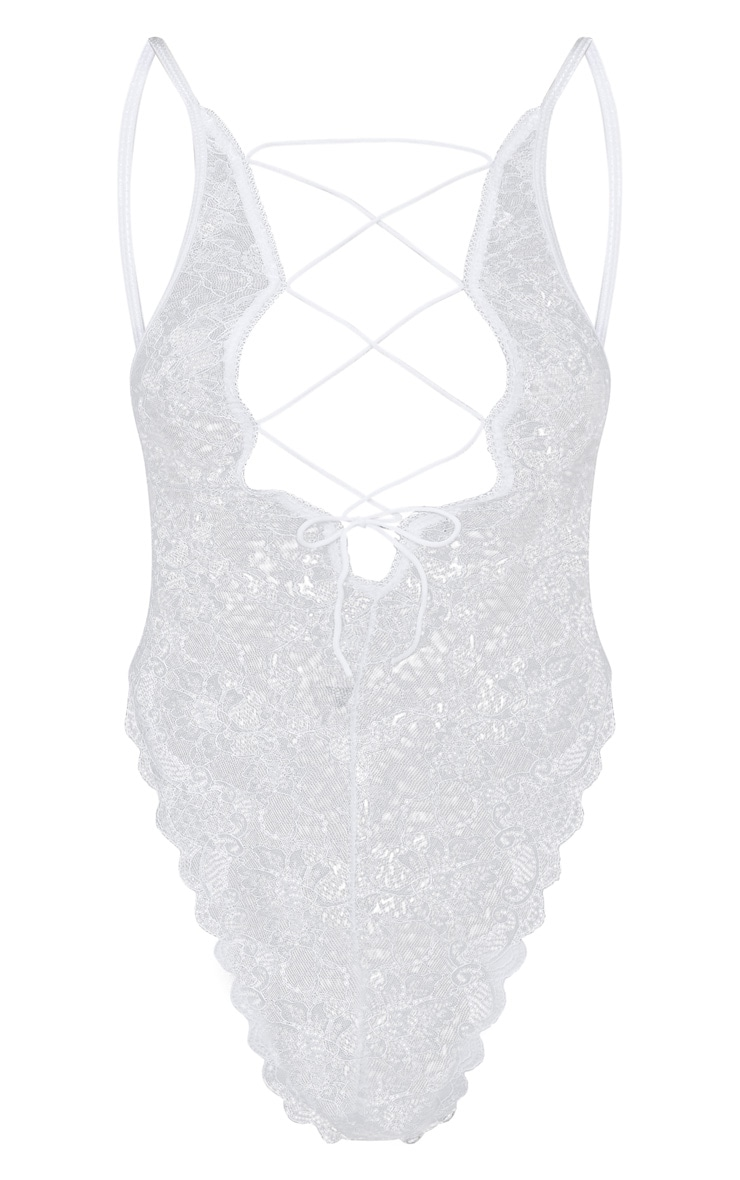 White Extreme High Leg Lace Up Front Body 3