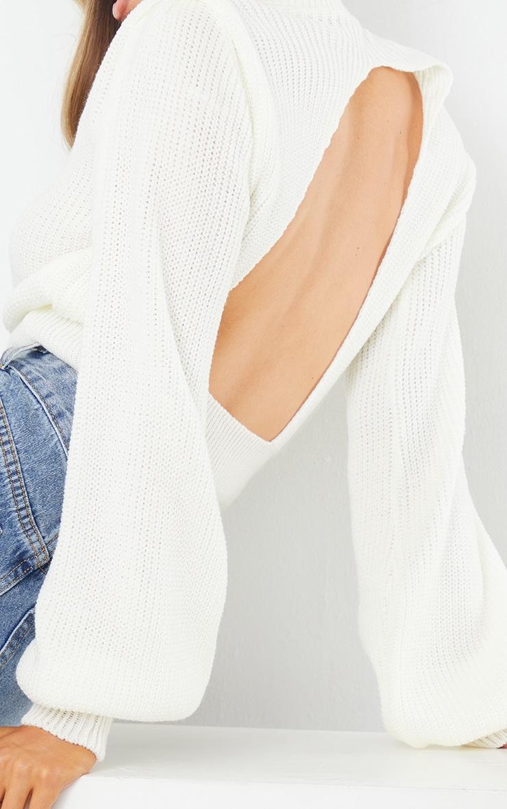 Cream Open Back Shoulder Detail Sweater 4