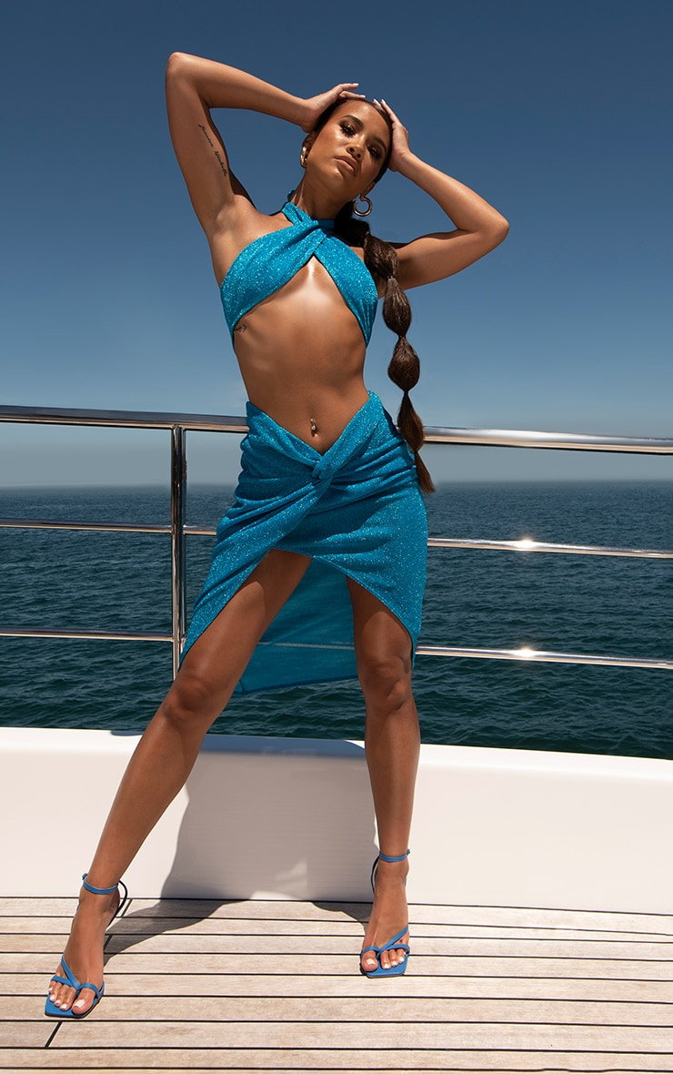 Blue Glitter Cross Front Bikini Top