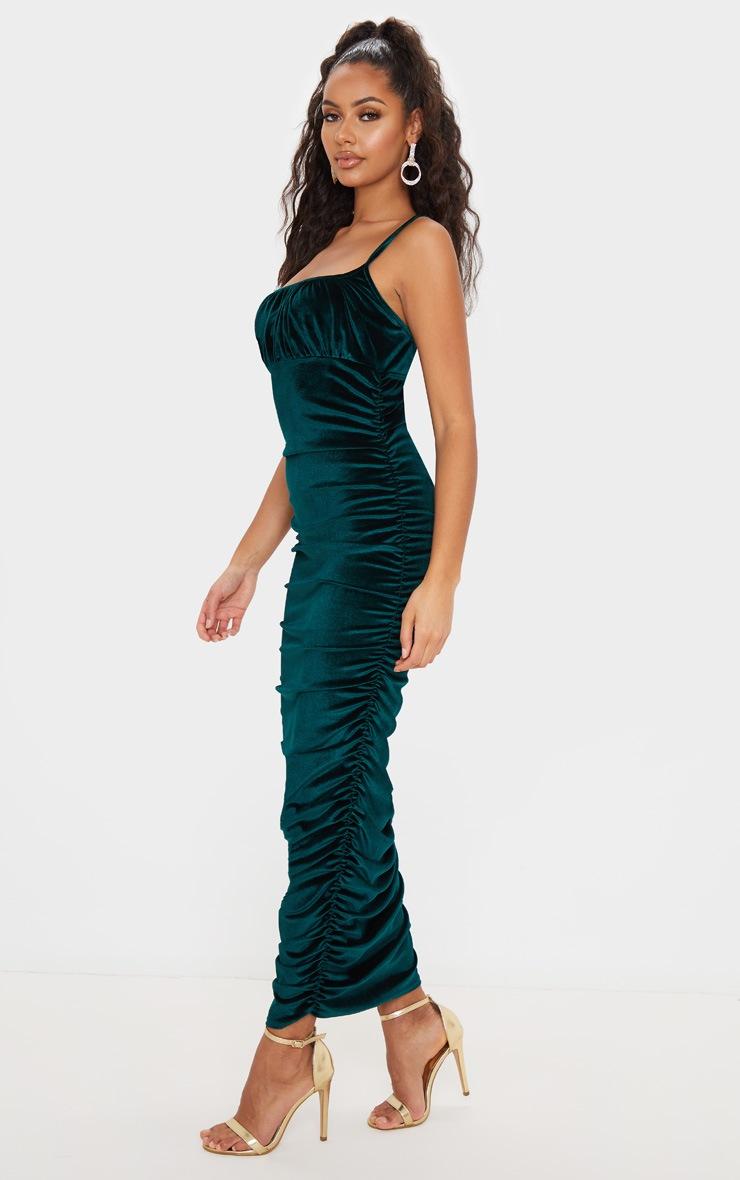 Emerald Green Velvet Strappy Ruched Midi Dress by Prettylittlething