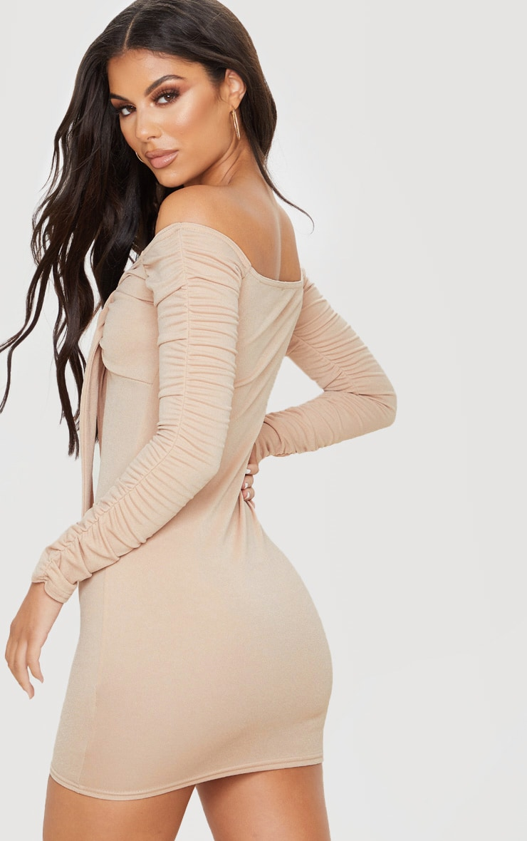 Nude Ruched Arm Tie Front Bodycon Dress 2