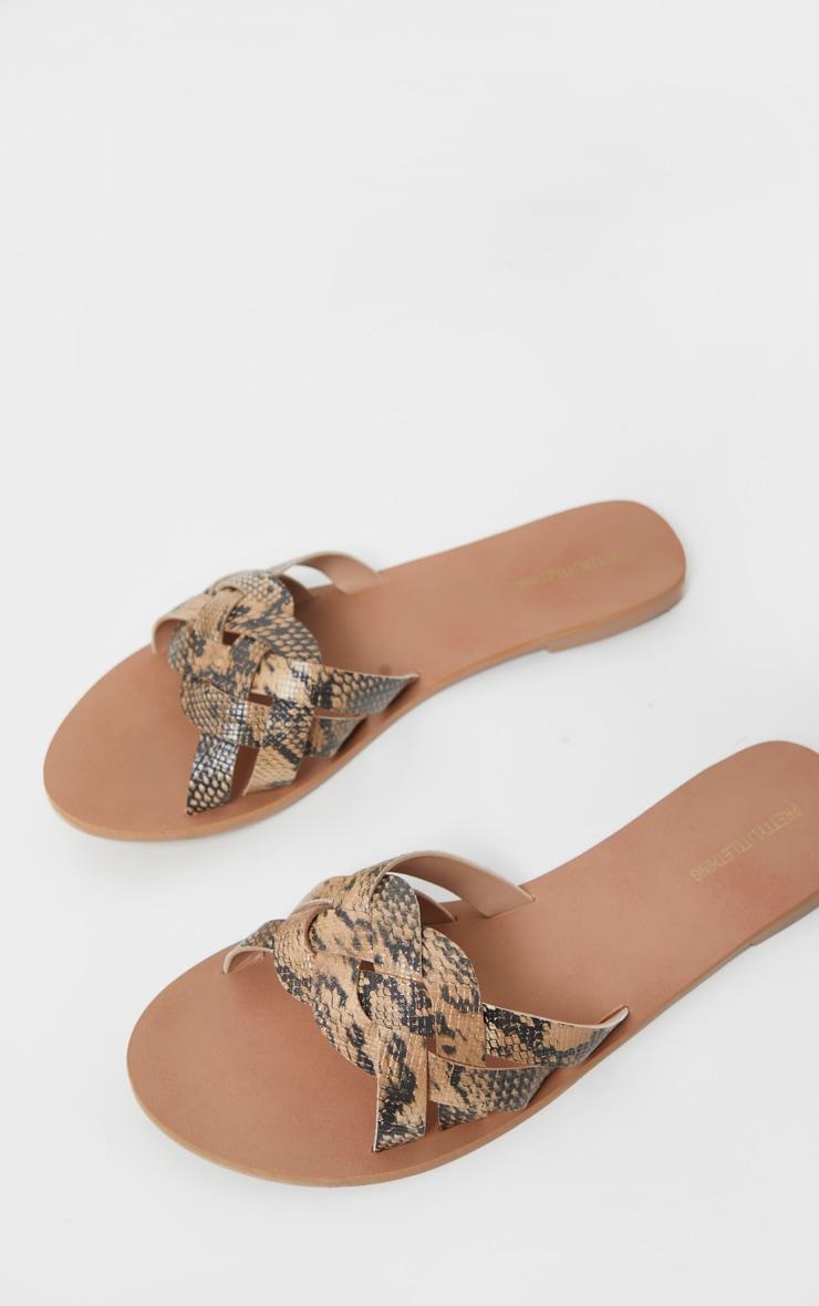 Snake Platted Mule Sandal 1