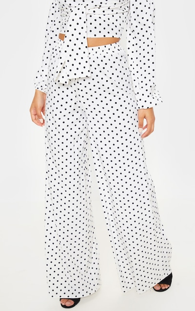 White Polka Dot High Waisted Wide Leg Trouser