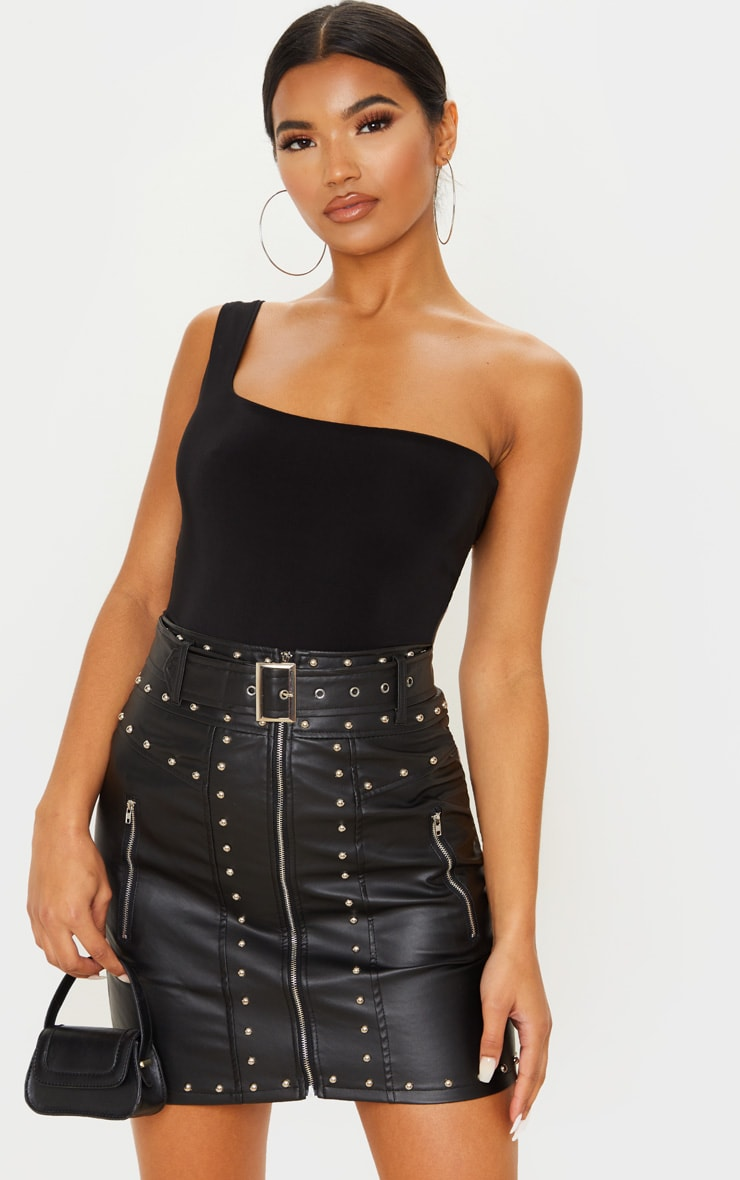 Black Faux Leather Stud Detail Belted Mini Skirt 1