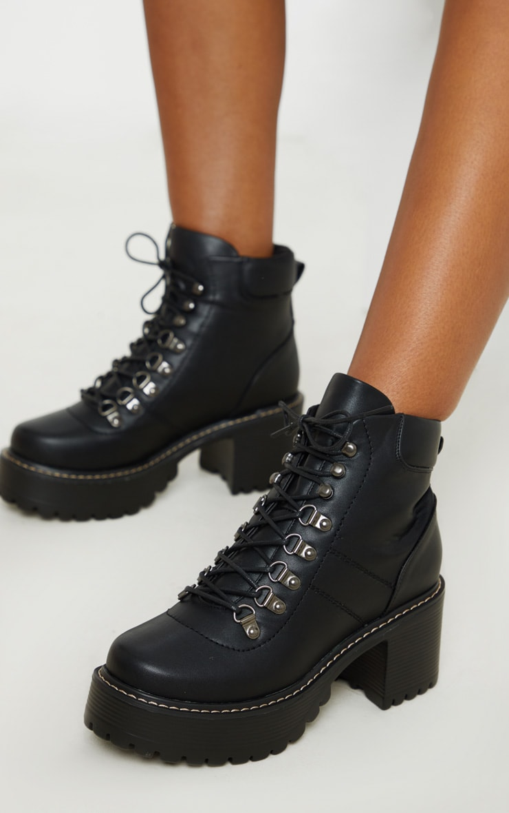 Black Cleated Platform Chunky Hiker Lace Up Ankle Boot 2