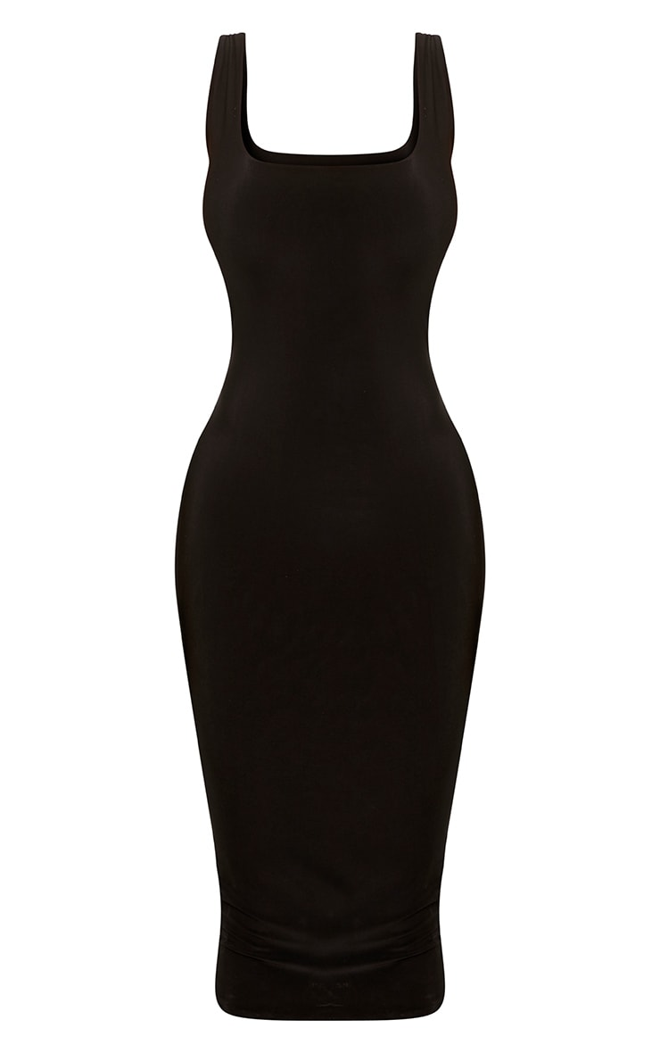 Shape Abrielle Black Slinky Midi Dress  3