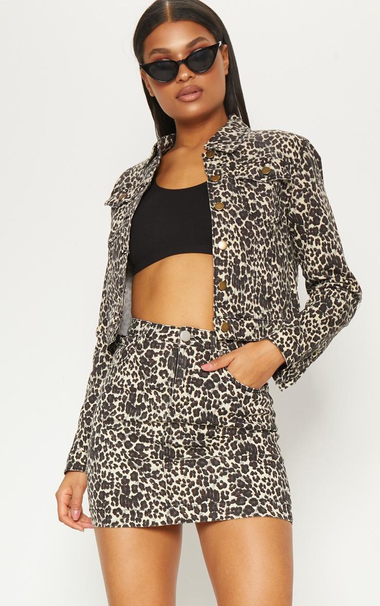 Leopard Cropped Oversized Denim Jacket 1