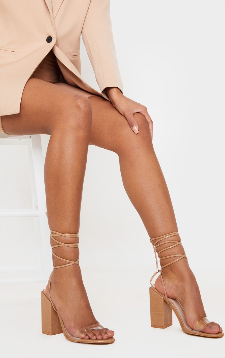 Tan Wide Fit Block Heel Ankle Tie Strappy Sandal 2