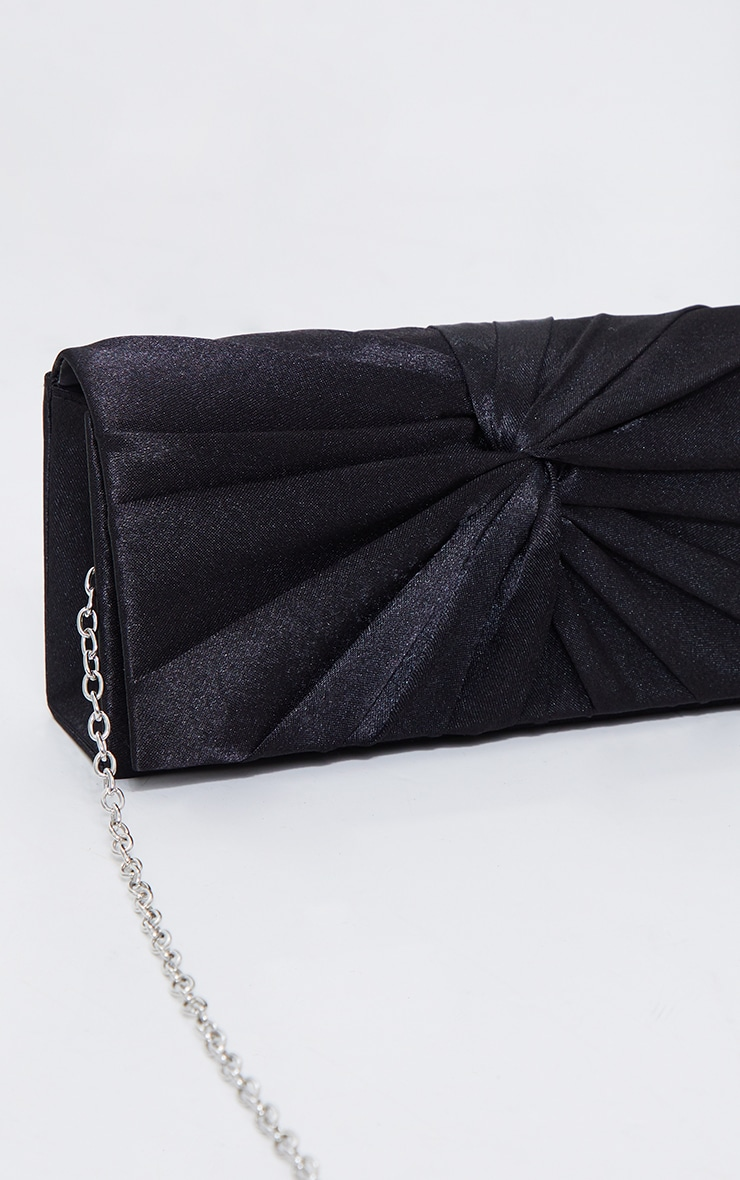 Black Satin Ruched Knot Clutch 3