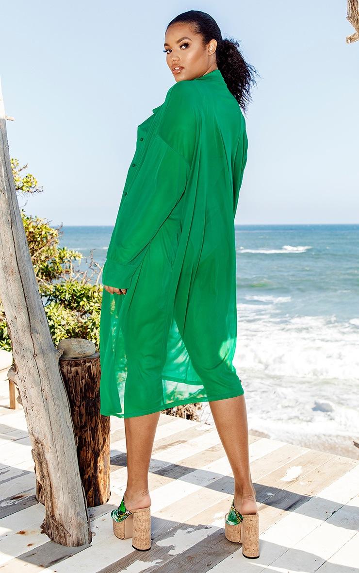 Plus Green Oversized Midi Beach Shirt 2