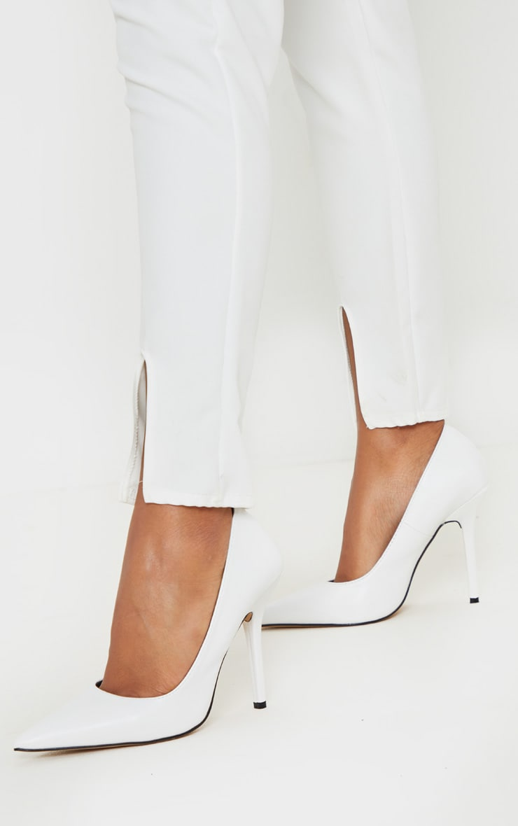 White Square Heel Court Shoe
