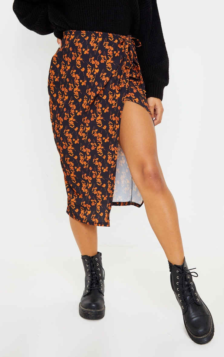 Black Floral Print Wrap Midi Skirt 2