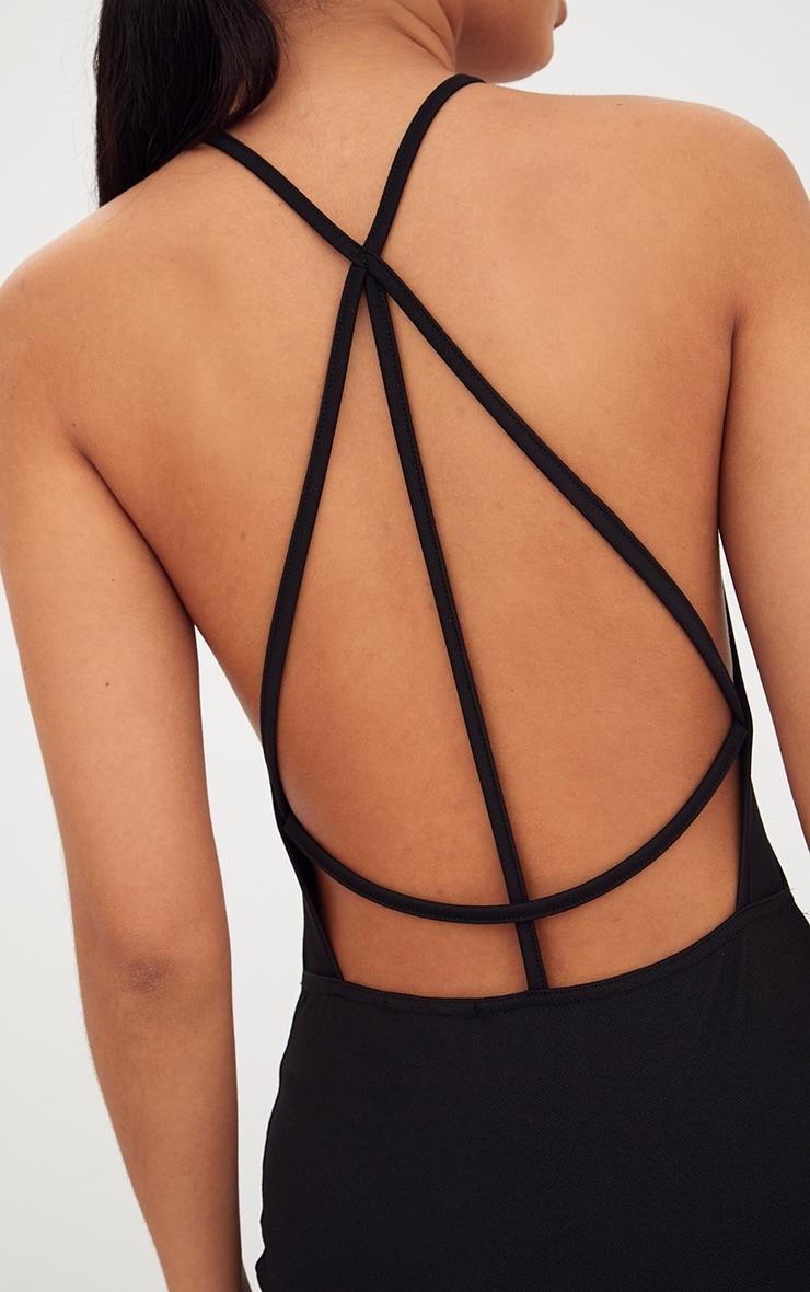 Black High Straight Neck Strappy Back Bodycon Dress 5