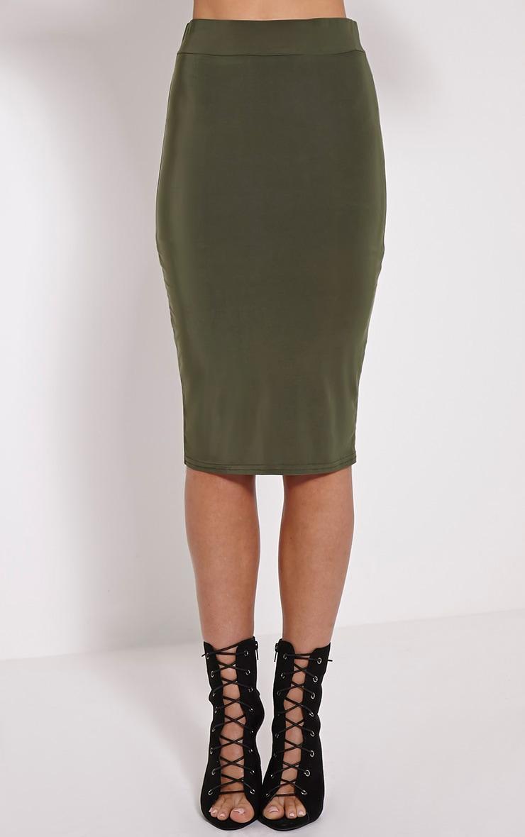Malin Khaki Midi Skirt 2