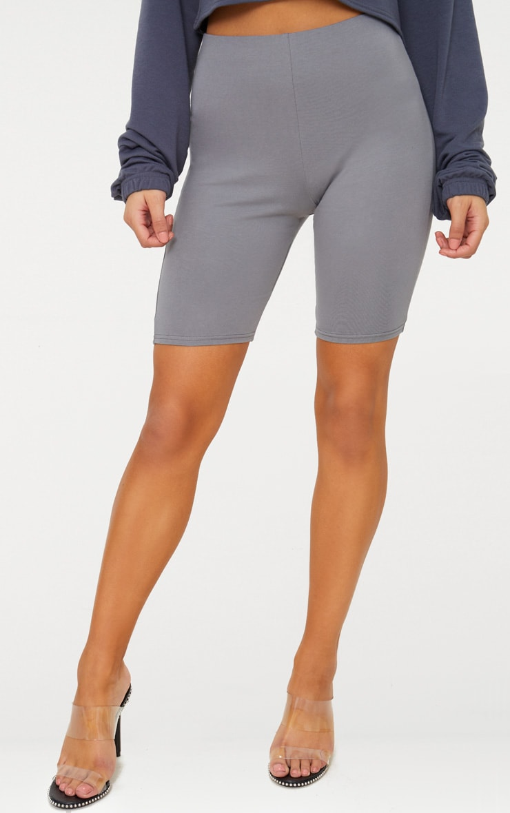 Charcoal Grey Cotton Stretch Bike Shorts  3