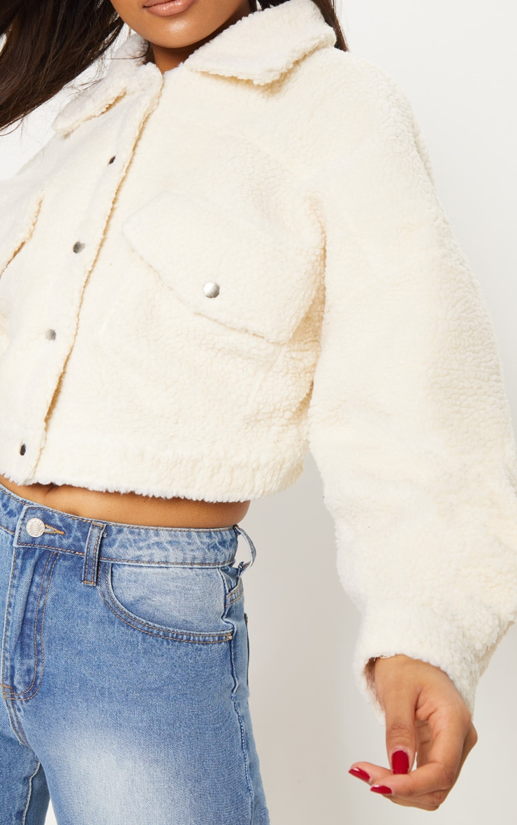 Cream Borg Cropped Trucker Jacket 6
