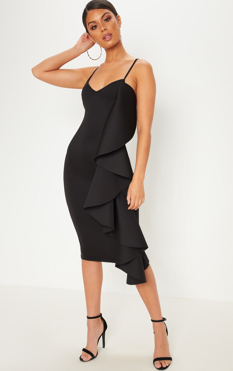 Black Bonded Scuba Ruffle Side Strappy Midi Dress
