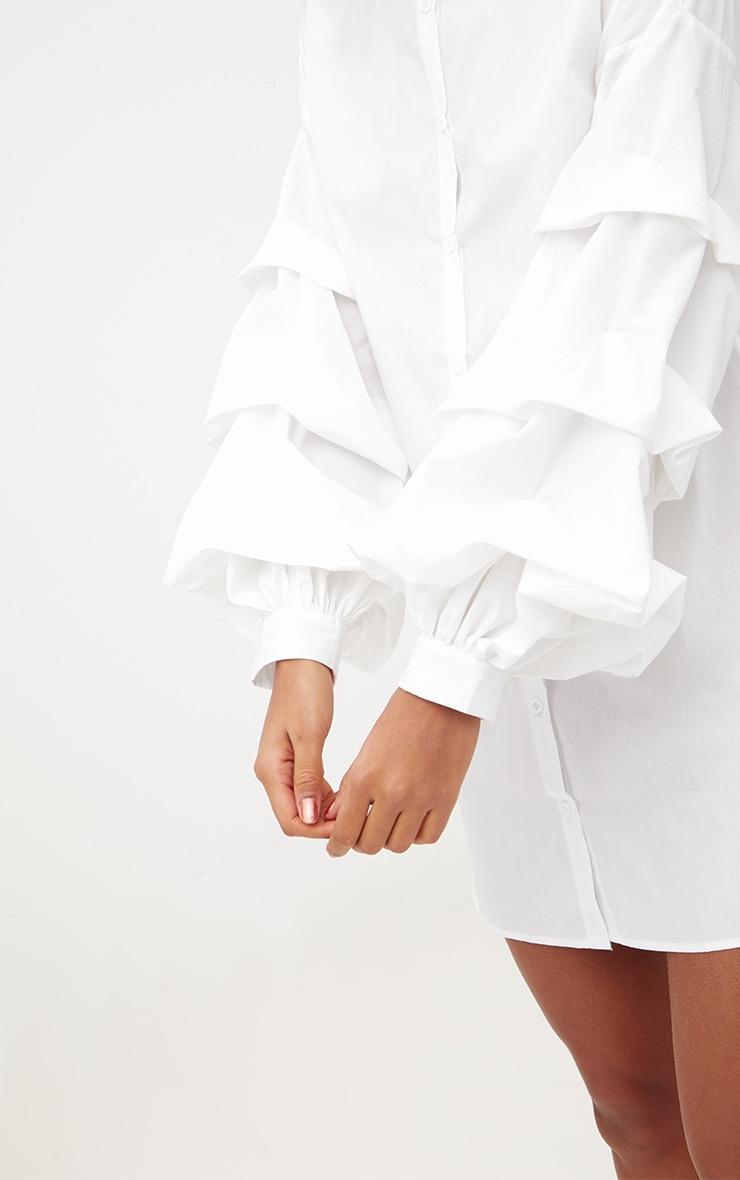 White Ruffle Sleeve Shirt Dress 5