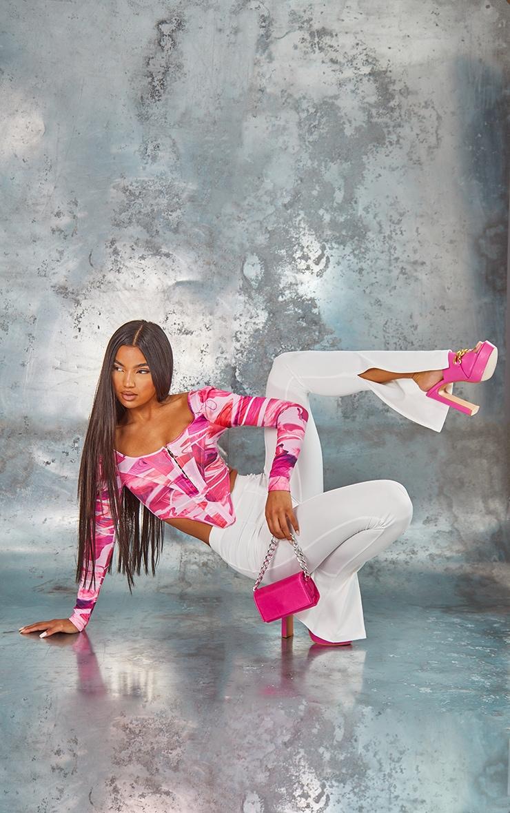 Pink Swirl Texture Print Jersey Long Sleeve Pointed Hem Corset 3