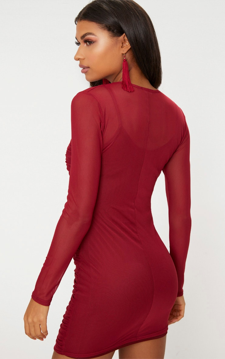Wine Mesh Ruched Long Sleeve High Neck Bodycon Dress  2