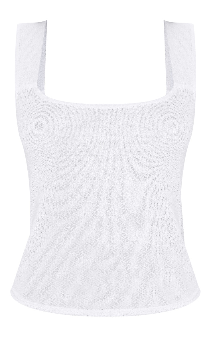 White Lightweight Knit Vest Top 3