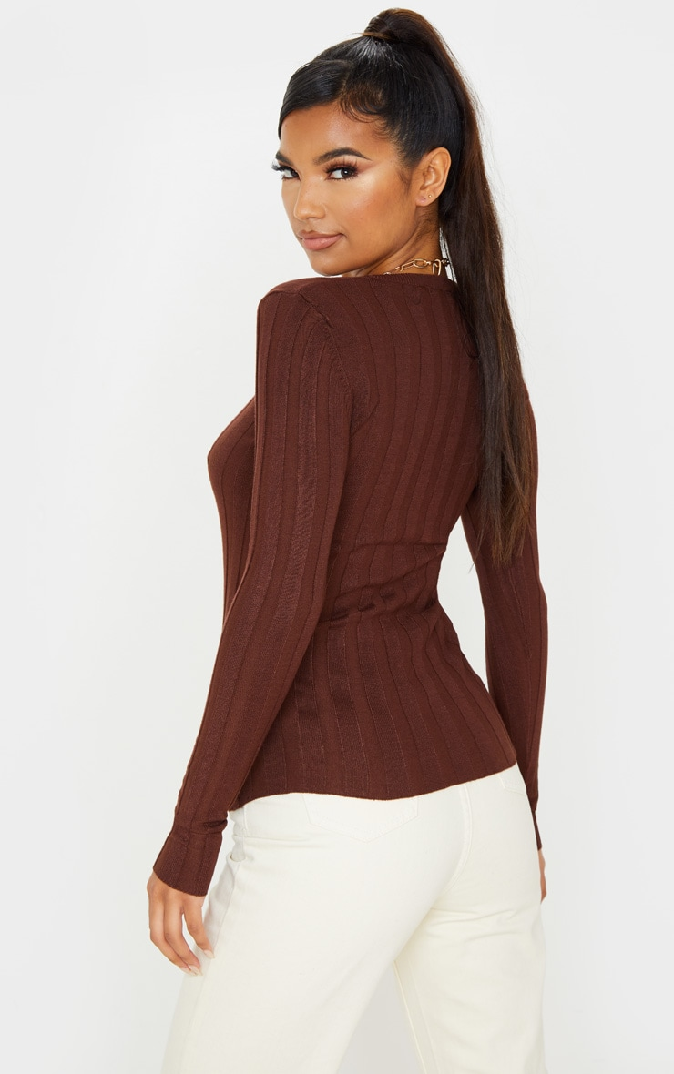 Brown Wide Knitted Rib Fitted Top 2