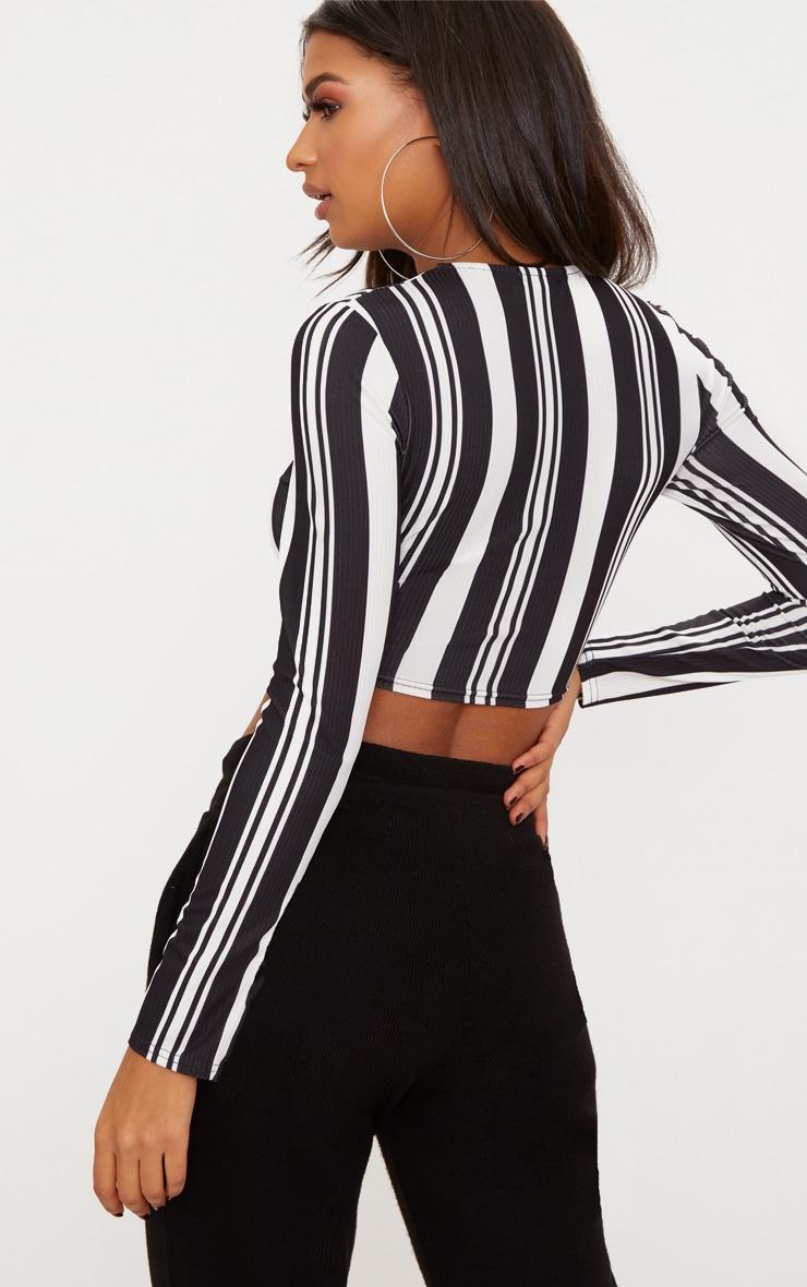 Monochrome Ribbed Stripe Longsleeve Crop Top 2