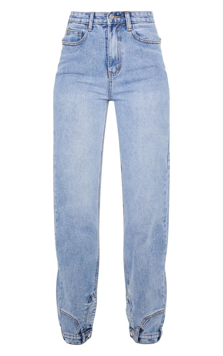 Vintage Wash Cuff Detail Straight Leg Jeans 5