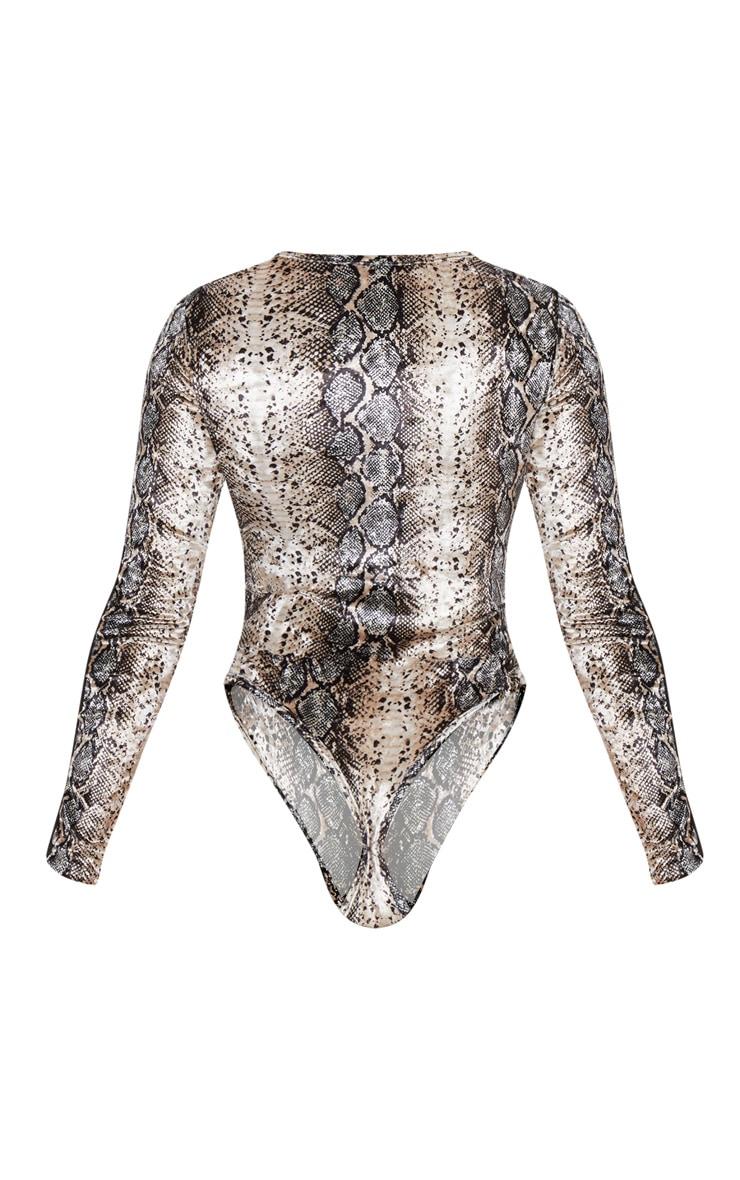 Stone Snake Velvet Long Sleeve Mesh Bodysuit 4