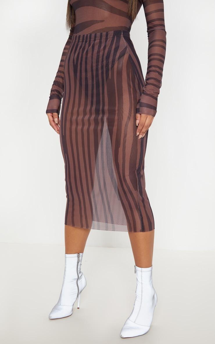 Brown Printed Mesh Midaxi Skirt 5