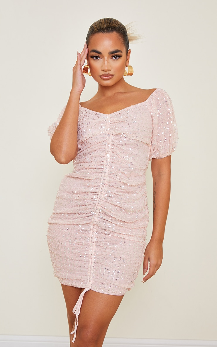 Petite Dusky Pink Sequin Ruched Detail Bodycon Dress 4